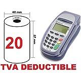 boite de 20 Rouleaux / bobines de papier thermique standard 57 x 40 x 12 pour terminal de paiement carte bancaire - tpe