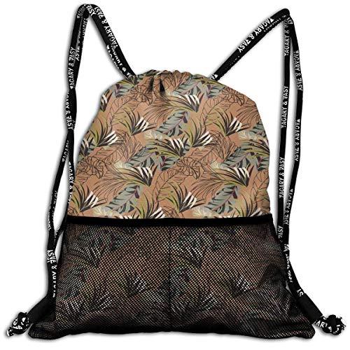 Etryrt Prämie Turnbeutel/Sportbeutel, Seamless Pattern with Tropical Plants. Unisex Outdoor Gym Sack Bag Travel Drawstring Backpack Bag