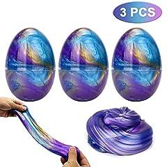 Idea Regalo - Luclay Galaxy Fluffy Slime 3pcs Colorful Soft Egg Slime Stress Sollievo Giocattoli DIY Morbido profumato Sollievo dallo Toy per Bambini e Adulti