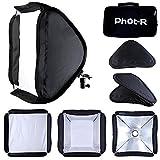 Phot-R P-FSK50 Professional Photography 50 x 50 cm Mobile Fotostudio Faltreflektor Diffusor Softbox Speedlite Kit für Universal Hotshoe Berg Flashguns schwarz