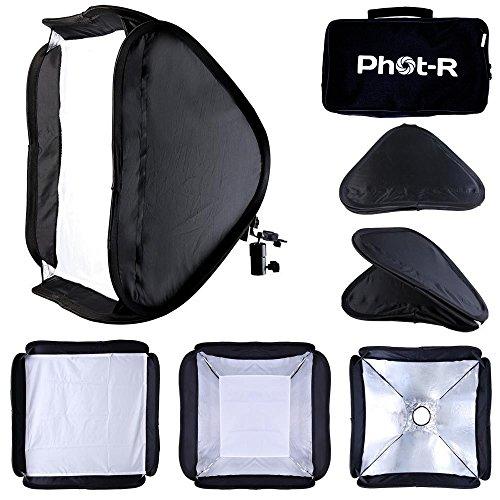 Phot-R P-FSK60 Professional Photography 60 x 60 cm Portable Photo Studio Faltreflektor Diffusor Softbox Speedlite Kit für Universal Hotshoe Berg Flashguns schwarz (Portable Stand Studio)