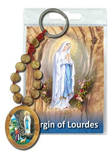 Ferrari & Arrighetti Llavero Virgen de Lourdes en Madera de Olivo con oración en inglés