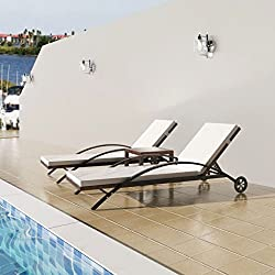 tidyard L'Ensemble de 3 Pcs (2 chaises Longues + 1 Table) Chaise Longue d'Extérieur en Résine Tressée Imperméable Marron