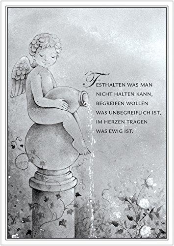 Trauerkarte mit Einem wunderschönen illustrierten Engel, Wasserkrug und Rosen in scharz/weiß/grau-Tönen. Kondolenzkarte Text: Festhalten was Man Nicht halten kann (Mit Umschlag) (1)