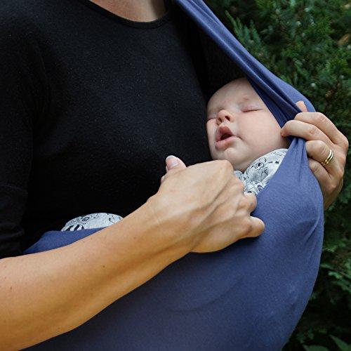 Premium Baby-Tragetuch aus 100% Baumwolle für Neugeborene und Kleinkinder | Hochwertiges Umhängetuch | Elastisches Kindertragetuch mit deutschsprachiger Anleitung für Bindetechniken (Hell-Blau) - 5