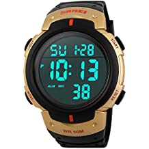 SunJas Reloj Digital de Pulsera Resistente al Agua Reloj Cronógrafo Temporizador Despertador Fecha Calendario Reloj Deportivo de Moda