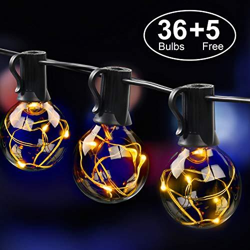 Mycarbon catena luminosa led esterno luminarie natalizie 36 bulbi sostituibili senza surriscaldamento luci da esterno led illuminazione per natale festa party cena inclusi 5 lampadine di ricambio