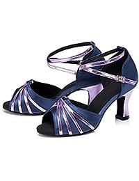 WYMNAME Mujeres Zapatos De Baile Latino,Fondo Blando Tacones Mediados Lado Brillante Zapatos De Baile Social Sandalias...