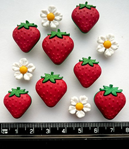 Fresh Strawberries - Fruit Food Novelty Craft Buttons & Embellishments by Dress It Up