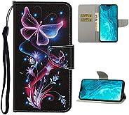 جراب محفظة EnjoyCase لهاتف Huawei P30 Pro، تصميم فراشة زهرة أرجوانية، حزام معصم ملون فاخر من الجلد للعرض وحامل