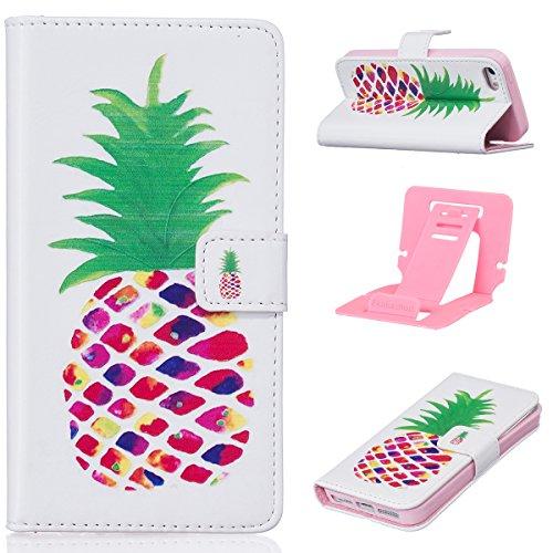 Ekakashop iPhone 6 plus / 6s plus Ledertasche im Bookstyle,iPhone 6s plus Hülle,Ultra Slim Comic Ananas Muster Magnative Wallet Case Schutzhülle Klapptasche Handyhülle Etui Bunt Painted Silikon Back C Ananas