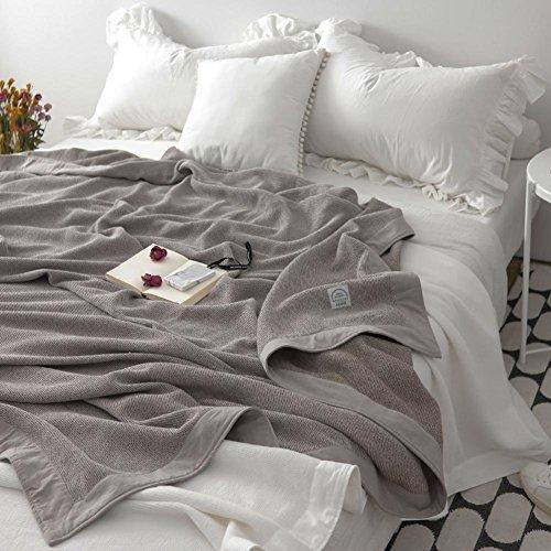 Uni Kuscheldecke, 100% natürliche Baumwolle Traditionelle Como Decke Home Sofa Bett Stuhl werfen, von cosy-l, 100 % Baumwolle, dunkelgrau, 180*220cm (King-size-decke Waffel)
