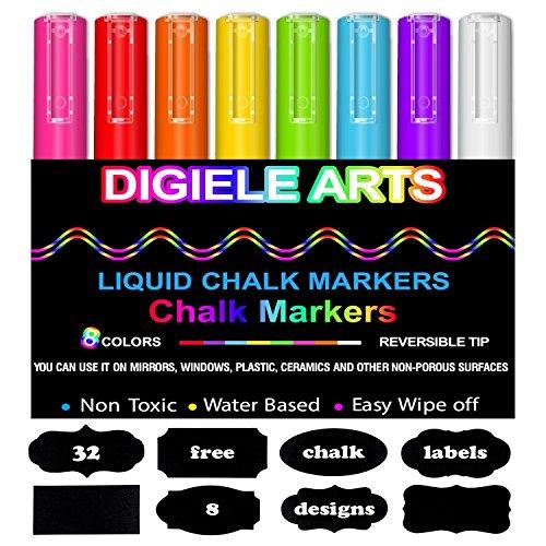Reversible Luft (Kreidestift, DIGIELE 8 Stück farbig sortiert mit 32 Tafelaufkleber, Reversible Stiftspitze 3 mm, Trocken oder Feucht Abwischbare Kreidemarker, Nicht-toxisch, sicher und einfach zu bedienen)