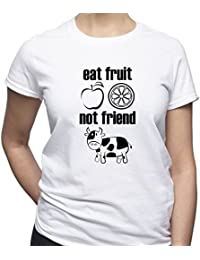 EUGINE DREAM Eat Fruit Not Friend Shirt Vegan Tshirt Vegan Gift Camiseta  Para Mujer e04386a9f896e