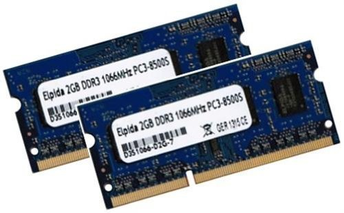 Notebook Ddr3 Ram 2gb (Elpida 4GB Dual Channel Kit 2 x 2 GB 204 pin DDR3 SO-DIMM (1066 Mhz / 1067 MHz PC3-8500S, CL7, für Apple und Notebook) - Apple ID 0x02FE)
