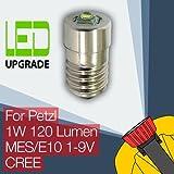 Petzl Zoom Duo LED-Glühlampe Umwandlung Upgrade für Petzl Stirnlampe 1W Scheinwerfer E10 CREE. CREE LED mit 120 lumen Ausgabe von 50.000 Stunden