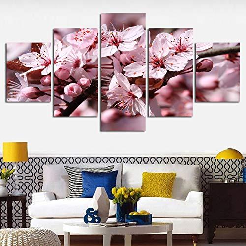 TBDZPS 5 Panel Wohnkultur Bilder Hd Drucke Pfirsich Kirschblüten Landschaftsmalerei Wandkunst Leinwand Blumen Poster Modular -