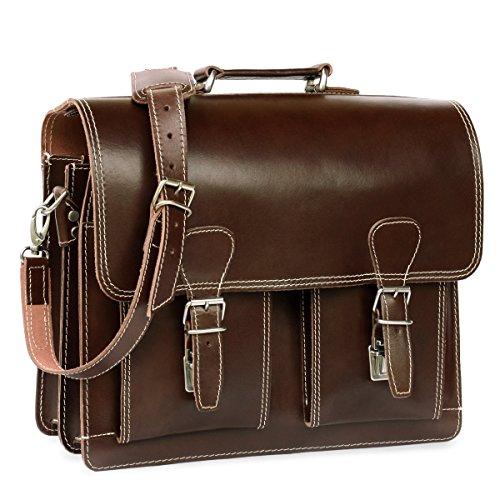 600 Leder (Klassische Aktentasche / Lehrertasche Größe L aus Leder, für Damen und Herren, Braun, Hamosons 600)