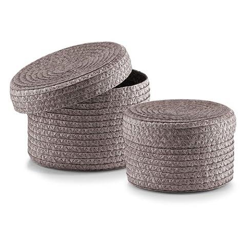 Zeller Basket with Lid, Plastic, Grey, 2-Piece