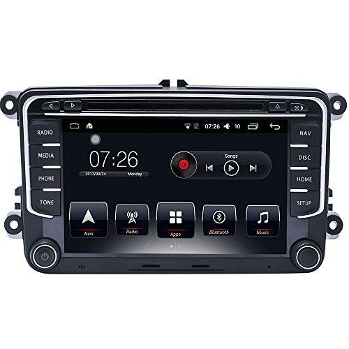 D-NOBLE 7 inch Touchscreen HD Android 6.0 Autoradio Bluetooth 2 Din GPS-Navigation Support GPS/DVD/Radio/Bluetooth/USB/Wifi /Mirror Link/RDS Multimedia Auto Car Stereo Player für VW Passat Golf Skoda