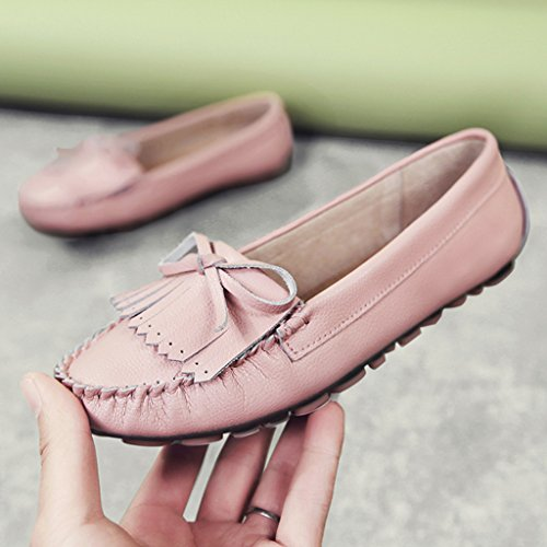 HWF Chaussures femme Printemps Pois Chaussures Shallow Mouth Simple Casual Chaussures plates dune femme Une pédale paresseuse Femmes enceintes Femme ( Couleur : Noir , taille : 36 ) Rose