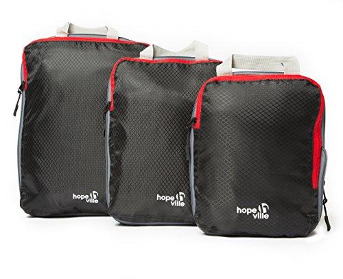 Hopeville HOPEVILLE Packtaschen Set mit Kompression, 3-teilige Premium Koffertaschen für perfekt organisiertes Reisegepäck, ultraleichte Reise Organizer und Kleidertaschen für Rucksack, Koffer und Handgepäck