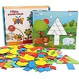 250 pièces Blocs en Bois Puzzles Préscolaire Géométrique de Motifs Jeux Jouets pour Les Enfants avec 10 Cartes de modèle
