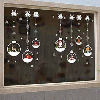 Pegatinas de pared de bola de cristal de Navidad que se regocijan – Arte de pared autoadhesivo con patrón de cadena – Sala de estar Pegatinas de pared de Navidad Decoración de ventana extraíble
