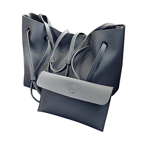 Schultertaschen für Damen Groß Jamicy® 2Pcs Mode Frauen Litchi Muster PU Leder Handtasche Schultertasche + Clutch Wallet Business Outdoor Elegant (Tief grau) (Canvas Handtasche Geflochten)