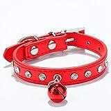 ExquisiteHalsbänder Einfarbig Strass Verstellbar Haustierkragen Mit Kleiner Glocke Halskette(Rot,S)