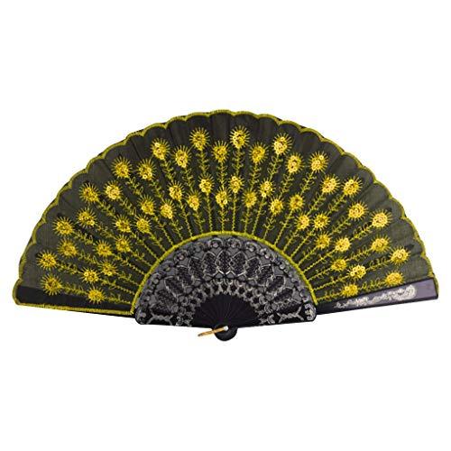 Demino Bunte gestickte Blumen-Muster-Schwarz-Tuch Folding Leichte Fan für Tanzaufführung Gold 23 * 43cm - Schwarzen Gestickten Gold Kleid