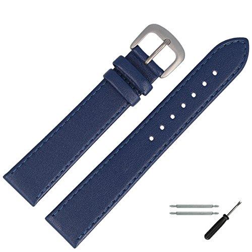 MARBURGER Uhrenarmband 20 mm Leder Blau Titan - Werkzeug Montage Set 7592051000420 (20mm Uhrenarmband Titan)