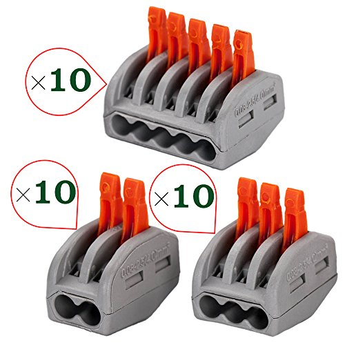 OxoxO 3 Type 2/3/5 Port Lever-Nut Lever Conductor Compact Wire Connectors PCT-412/PCT-413/PCT-415 Terminal Block Wire Push Cable Connector for Junction Box Assortment Pack (30 Pack) - 30k Compact