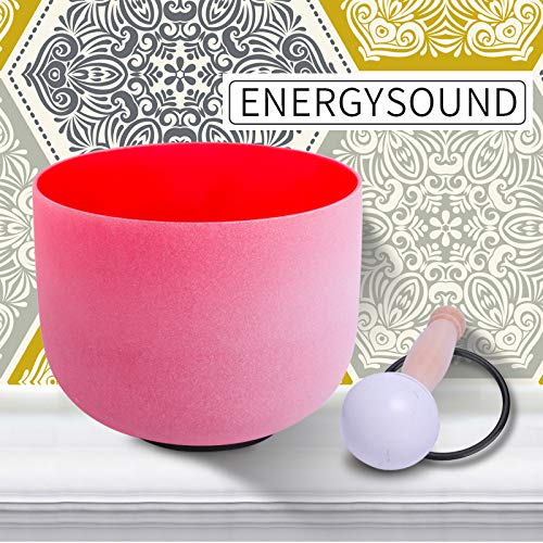 ENERGYSOUND 432 Hz Perfect Pitch C Note Wurzelchakra rot gefärbt, satinierter Quarzkristall Klangschale 20cm - Yoga Therapie Sound Healing -