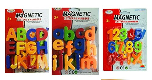 Gooyo (Pack of 3) Magnetic Learning Letters Alphabets and Numbers, Set of 65 Pcs Premium Quality ABC, ABC and 123 Educational Magnets with Mathematical Symbol for Kids, Multicolor