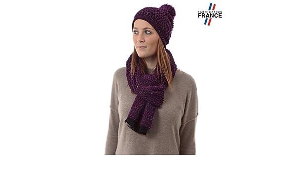 Qualicoq Echarpe et Bonnet CANCALE Violet - Fabriqué en France  Amazon.fr   Vêtements et accessoires 19b42a0e6a7