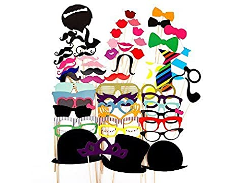 58 Pcs Colourful Party Props Photo Booth on Sticks DIY Funny for Wedding, Birthday, Christmas, Graduation by Trimming