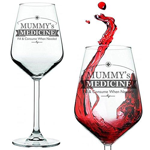 Verre de vin pour parent stressé, avec inscription en anglaisLivré dans une boîte cadeau en forme de tube, Verre, claire, Mummy's Medicine Wine Glass