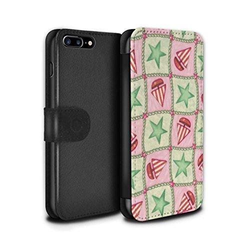 Stuff4 Coque/Etui/Housse Cuir PU Case/Cover pour Apple iPhone 7 Plus / Pêche/Violet Design / Bateaux étoiles Collection Vert/Rouge