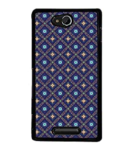 Fuson Premium 2D Back Case Cover Blue pattern With Blue Background Degined For Sony Xperia C