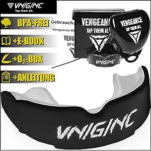 VNGNC Mundschutz | + Hygienebox + Namensschild + Video-Tutorial + E-Book(HCG-Diät) | MMA, Krav MAGA, BJJ, Boxen, Muay Thai, Kickboxen, Rugby, Football | Premium Zahnschutz | ab 11 J.