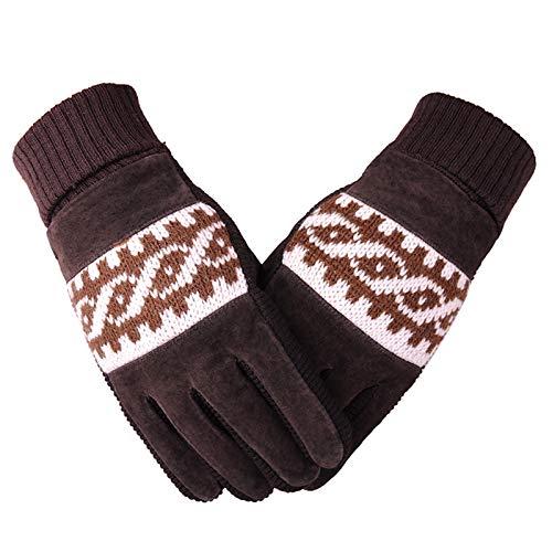 Epinki Skihandschuhe Lederhandschuhe Winter Radfahren Anti-Rutsch Handschuhe Bike Motorrad Samt Warm Fahrradhandschuhe Handschuhe Braun