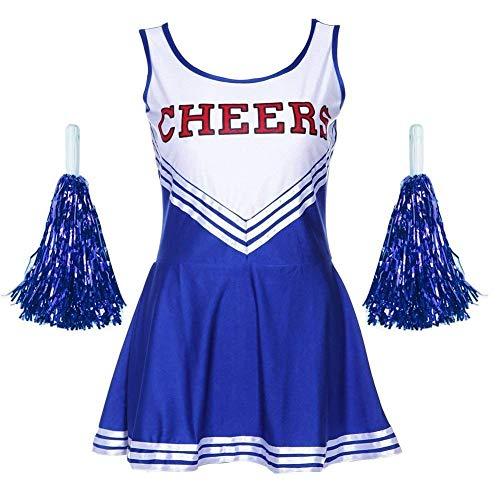 JIAJIA YL Femme Costume de Cheerleader High School Uniforme de Pom-Pom Girl Musical Déguisement Halloween Carnaval Robe Costume 4 Couleurs XS - XXL (Bleu, S)