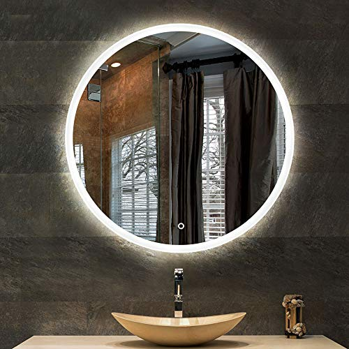 YANZEDIAN Miroir Salle de Bains Mural Miroir Lumineux LED Miroir Intelligent Bassin Vanité Beauté HD Tactile sans Cadre (Lumière Blanche, Lumière Chaude) -50,60,70cm