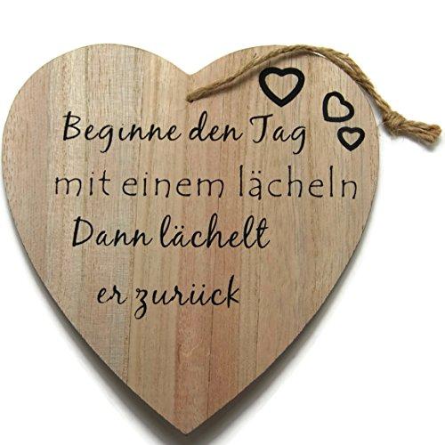 Bada Bing Holzschild Herz 16 x 17 CM Naturbelassenes Holz Bild Schild Wandbild Motivation Spruch Muttertag Geschenk Frau Trend 69