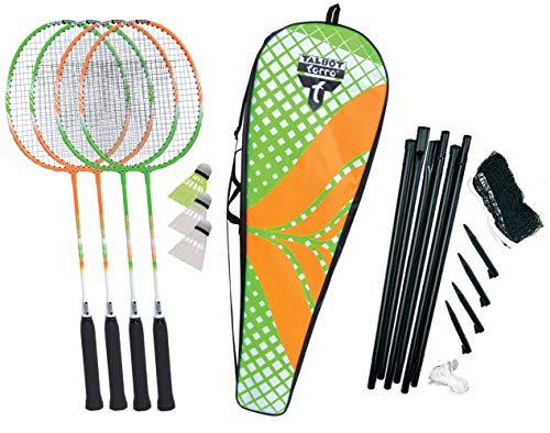 Talbot-Torro Badminton-Set 4-Attacker Plus, Kolmplettset mit 4 Schläger, 3 Federbälle, komplette Netzgarnitur, in wertiger Tasche