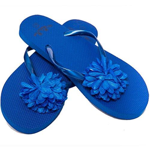 Airee Fairee Zehentrenner Damen Flip Flops Mädchen Sommer Sandalen Blume (EU 36-37, Blau)