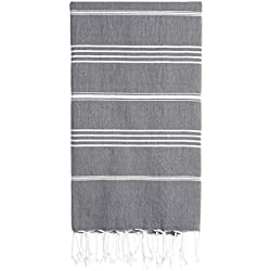 Cacala Pure Series Turkish Bath Towels – Traditional Peshtemal Design for Bathrooms, Beach, Sauna – 100% Natural Cotton, Ultra-Soft, Fast-Drying, Absorbent – Warm, Rich Colors with Stripes, Gray, 95 x 175 x 0.5 cm