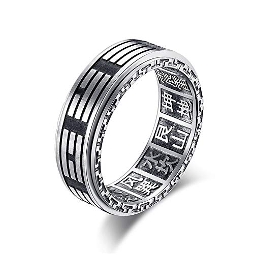 Ofgcfbvxd Ehering-Ring der Männer Männer 8 MM Edelstahl Yin Yang Spinner Ring Ba Gua Feng Shui Acht Trigrams Signet Band Größen 6-12 für Männer Frauen Comfort Fit Größe (Größe : 7) (Größe Ring 11 Knot)