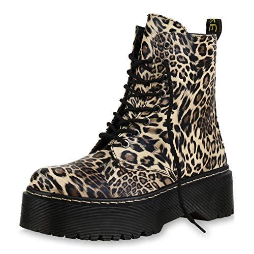 SCARPE VITA Damen Stiefeletten Plateau Worker Boots Leo Print Stiefel Schnürer 173343 Leopard Prints 39 Schuhe Leopard Print